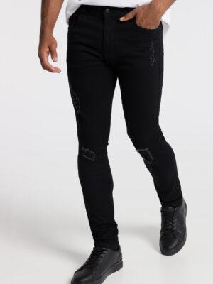 Six Valves Pantalon Denim Black Rotos Pitillo